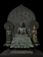 再現した釈迦三尊像(飛天取付前)