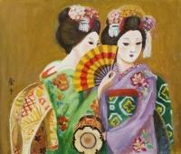 「二女性」 浦田愛子 (足で描く)神奈川県在住