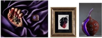 ◆エルダーフラワー&カシス ◆絵画 210×150mm  額435×378mm ◆ガラス彫刻 235×160×160mm